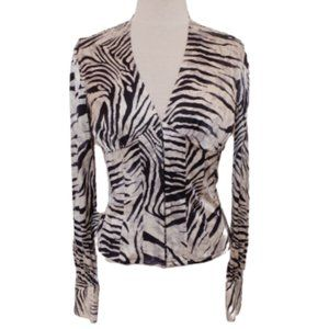 Marciano Corset Style Silk Animal Print Blouse- Sm